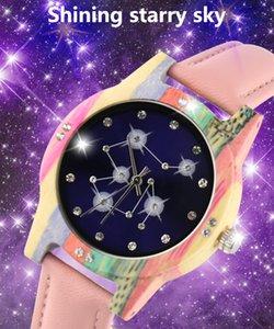 Natural Wood Watch for Women Female Genuine Leather Quartz Constellation Wristwatch Colorful Bamboo Rhinestone Diamond Wooden Wrist Watches