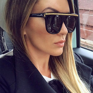 Retro Large Frame Big Brand Women Brand Designer Metal Chain Flat Top Sunshade Square Oversized Sunglasses UV400