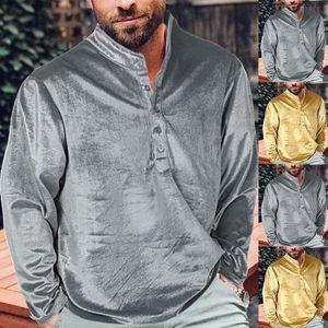 Fashion Men Velvet Shirts Medieval Retro Style Casual Long Sleeve Blouse Muslim Dubai T-shirt Loose Tee Tops African Clothing
