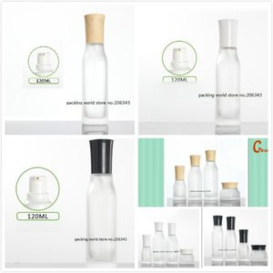 120ml square frosted glass bottle with press pump for lotion emulsion serum foundation toner water skin care cosmetic packing
