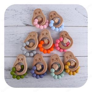 Yeni Bebek diş kaşıyıcınız Halkalar Food Grade Beech Wood Teething Halka Emzikler silikon boncuk diş çıkarma diş kaşıyıcı avokado bebeği geldi