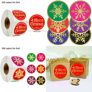 Round 500pcs Gold Foil Merry Christmas Stickers Seal Labels for Thank You Cards Envelope Gift Package Scrapbooking Decor 1e8k
