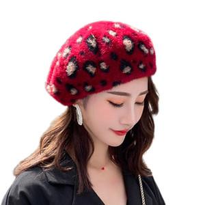Kadın Fransız Stil Sonbahar Kış Bereliler Cap Vintage Leopar Noktalı Baskılı Bayanlar Ressam Açık Şık Beanies Bonnet Felt Hat