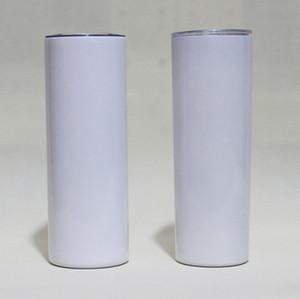 20oz Sublimation Skinny Skinny Tumblers blancs blancs en acier inoxydable Isolated isolé conique Slim Diy 20 oz tasse de café et paille