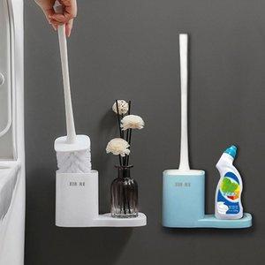 Wall pendurado pincel de banheiro titular de banheiro limpeza escova toalete limpo ferramenta com base perfurada casa casa de banho acessórios h jllwzp