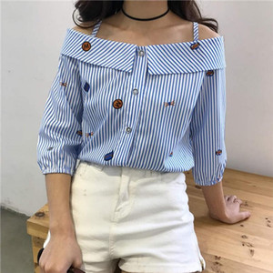 Spring fashion print embroidered shoulder slash neck blouse new blouse new word spread word long sleeved shirt striped
