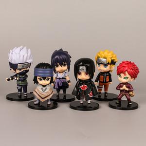 Naruto Décoration de voiture Jouets 6 PCS Sasuke Kakashi Personnages ITACH SET ANIME ACTION FIGURES Poupée PVC Modèle Ornements
