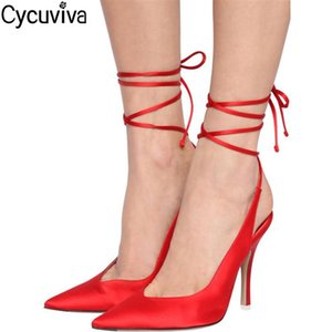 New Red Satin Sandalias Thin High Heel Sandals Women Sexy Pointed Toe Lace Up Sandals Women 2020 Runway Party Dress Shoes Woman 0928