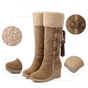 Scarpe Nice New Scarpe da neve stivali donna stivali cuneo invernali a metà polpaccio pelliccia calda inverno femminile della nappa