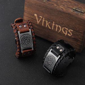 Charm Wide Leather Bracelet Men Punk Braided Rope Alloy Cuff Bangle Male Wristband Viking Bracelet Mens Jewelry with wood box