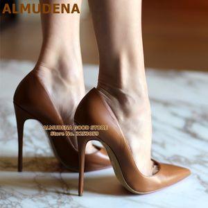 ALMUDENA Marca Top Matte couro sapatos de salto alto Nude Brown Wine Red Shallow Bombas celebridade Popular 12 centímetros de estilete Heels Shoes C1011