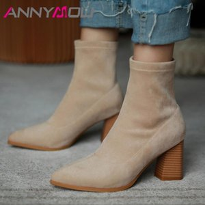 ANNYMOLI Ankle Boots Women Shoes High Heel Short Boots Ladies Pointed Toe Block Heels Female Autumn Black Apricot Gray 39
