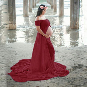 Elegant Shoulderless Maxi Gown Split Front Maternity Dresses for Photo Shoot Short Sleeve Chiffon Pregnancy Dress Photography
