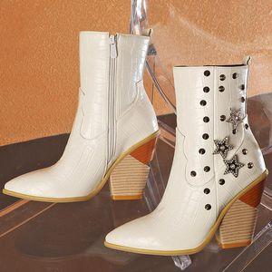 Designer Women Fashion 2020 Crystal Metal Cowboy Boots 10cm Cork Heels Ankle Boots Rivets Fur Lady Yellow Shoes Plus Size