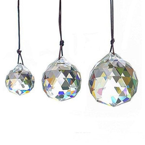 Faceted Crystal Ball Chandelier Prisms Ceiling Lamp Lighting Hanging Drop Pendants Wedding Party Home Decoration 30mm