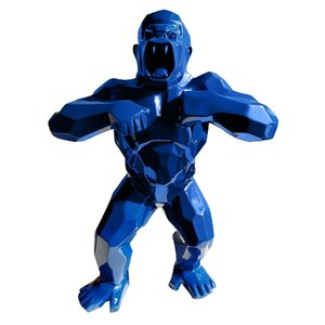 16''Animal Simulation King Kong Gorilla Creative Decoration Art Craft Birthday Gift Resin Action Collectible Blue Model Toy BOX