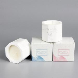 Plâtre en marbre Bougie parfumée Freesia Blackberry Laurel Bougie parfumée Saint Valentin cadeau de mariage de Noël aromathérapie bougies AHA1835
