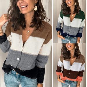 Womens Designer Patchwork Pullover Herbst-Winter-Langarm V-Ausschnitt Striped Knopf der Frauen beiläufige gestrickte Pullover
