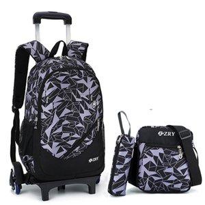 Ziranyu Kids Boys Filles Scône Schoolbag Bagages Bags Sacs Sacs à dos Derniers sacs d'école pour enfants amovibles avec des escaliers de 2/6 roues Y0119