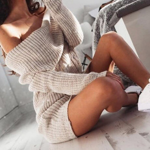 VIPOff Shoulder Long Sleeve Sweater Dress Women Autumn Winter Loose Solid Knitted Casual PulloverMVP