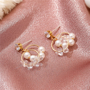 20pairs Lot Korean Simple Pearl Rhinestone Ear Drop Fashion Double Circle Stud Earrings Female Metal Gold Ear Nail Jewelry Accessories
