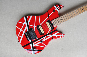 Factory Custom Red Electric Guitar with White Strips,Maple Fretboard,Double Rock Bridge,Can be Customized