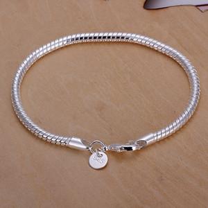 Очаровательный браслет цепь 3 мм серебряная змея оптом 925
