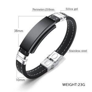 Catena dei braccialetti fai da te personalizzati nome Incidere Mosaico Magnet Wristband Uomini Leathe silicone di modo del bracciale per il regalo Man