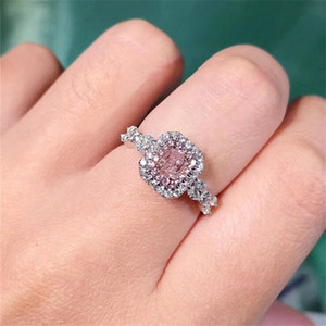 Sparkling Luxury Jewelry 925 Sterling Silver Princess Cut Pink Sapphire Diamond Promise Ring Women Party Wedding Engagement Band Ring Gift