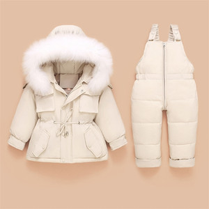 Children Down Coat Jacket Kids Toddler Jumpsuit Baby Girl Boy Clothes Winter Outfit Snowsuit Overalls 2 Pcs Clothing Sets LJ201221