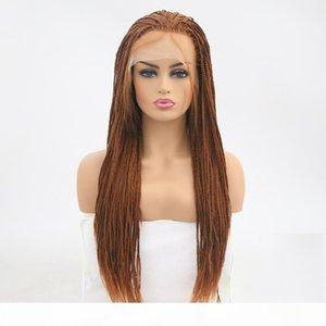 Carisma largo de Brown Micro ganchillo caja trenzada sintética del frente del cordón de las mujeres a prueba de calor Pre desplumados Hair Braiding