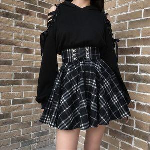 Qiukichonson 고딕 로리타 스커트 여성 2020 봄 가을 겨울 하이 웨이스트 레이스 업 짧은 격자 무늬 울 스커트 미니 스커트 팜므