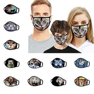Animal Cat Dog Designer Face Mask 3D Printed Funny Face Cover Mask Fashion Face Shield Washed Reusable Dustproof Designer Masks DHD2844