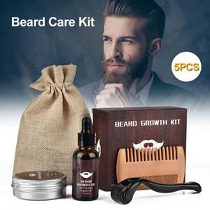 Котак для роста бороды Борода Дерма ролик + борода рост сыворотки сыворотки + бальзам для волос для волос для волос дерма ролик для менрабина
