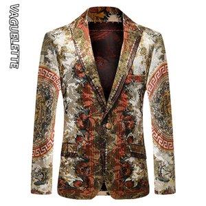 Vaguelette Luxury Printed Blazer Мужчины Slim Fit Зимняя куртка венчания партии пальто куртки Stage Clothers Большой размер M-4XL 201113