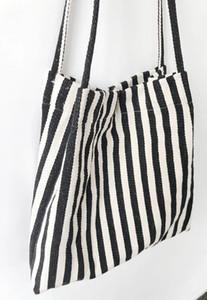Verano Nuevo Vintage Corea estilo rayas lienzo bolsas de compras Bolsas de gran capacidad Wild Messenger Bag Cute Fun Backbag