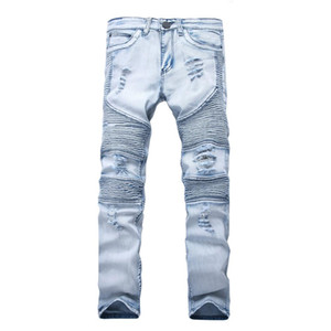Rappresenta i pantaloni di abbigliamento SLP Blue / Black Destryed Mens Slim Denim Dritto Biker Skinny Jeans Men Strappato Jeans