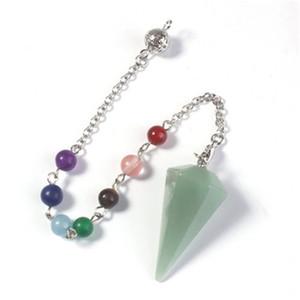 Natural Healing Crystals Stones Necklace 7 Chakras Hexagonal Vertebra Cone Pendant Water Drop Modeling Womens Ornament Decorate New 7 4xy M2