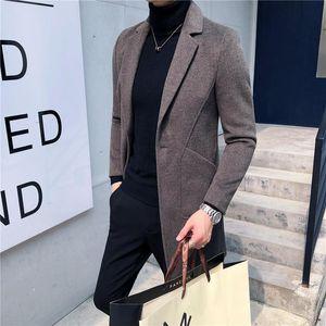 fall and winter of 2020 men's windbreaker long wool overcoat woolen cloth business in the new suit men's leisure coat