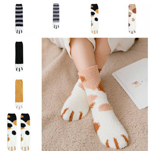 Доставка DHL Женской нечетких носки осень зима теплой Cozy пушистых мягкие тапочки носки Cute Cat Claw чулок рождественских подарки для девочек L698FA