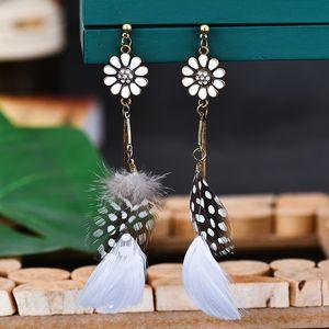 Sunflower Feather pearl Earrings women's long exotic Earrings ear rings for ladies