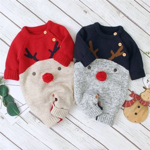0-18M Christmas Newborn Infant Boy Girl Deer Romper Knitted Warm Jumpsuit Xmas Baby Costumes Clothes