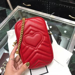 titolare della carta a forma di mini catena borsa fotografica cuore rosso in vera pelle di qualità superiore con cerniera trapuntato spalla sacchetti del telefono di mano crossbody sac de luxe