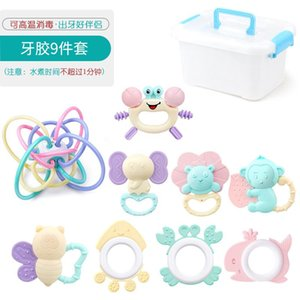 Baby toys 0-1 year old Baby Hand Rattle Gum Newborn Kid Early Education Molars Boiled Bed Bell Set Teethers Gift