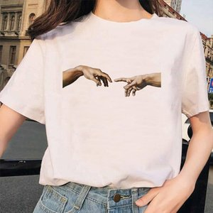 New Michelangelo T Shirt Ulzzang Hands Femme Vintage Women Harajuku Tshirt 90s Aesthetic Female Grunge Graphic T shirt