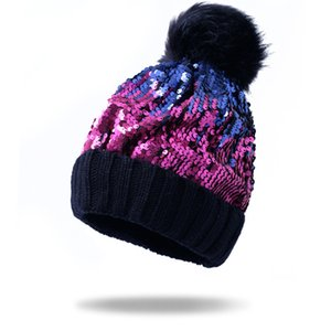 Sequins Women Winter Knitted Beanie Hat with Fur Pom Bobble Hat Skull Beanie for Women Sequins Multiple Colors