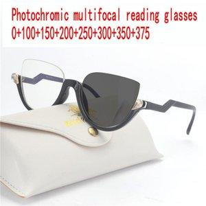 Half frame Cat Progressive Photochromic Reading Glasses Fashion Men and Women Color Multi-focus Graduation Glasses FML