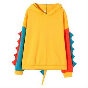 Fashion Hoodies Sweatshirt Womens Casual Loose Long Sleeve Splice Cartoon Dinosaur Sweatshirt Pullovers Tops Clothes LR4 Drop Shipping