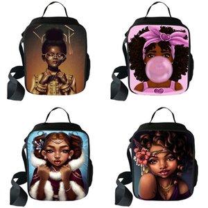 Sacos de armazenamento Food bonito Afro Girs Princesa Imprimir Lunch Box África menina Brown americano portátil almoço Bag Lunch Container Escola