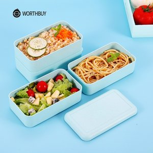 WORTHBUY Japanese Microwave Lunch For Kids Portable Leakproof School Bento Wheat Straw Children Food Container Box Y200429